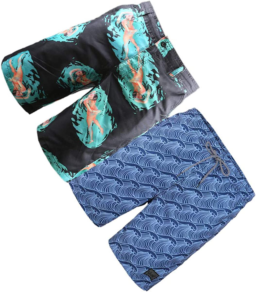BG 2-Pcs Pack Men's Design Rash Guard Funny Graphic Casual Stripe Texture Swim Trunks