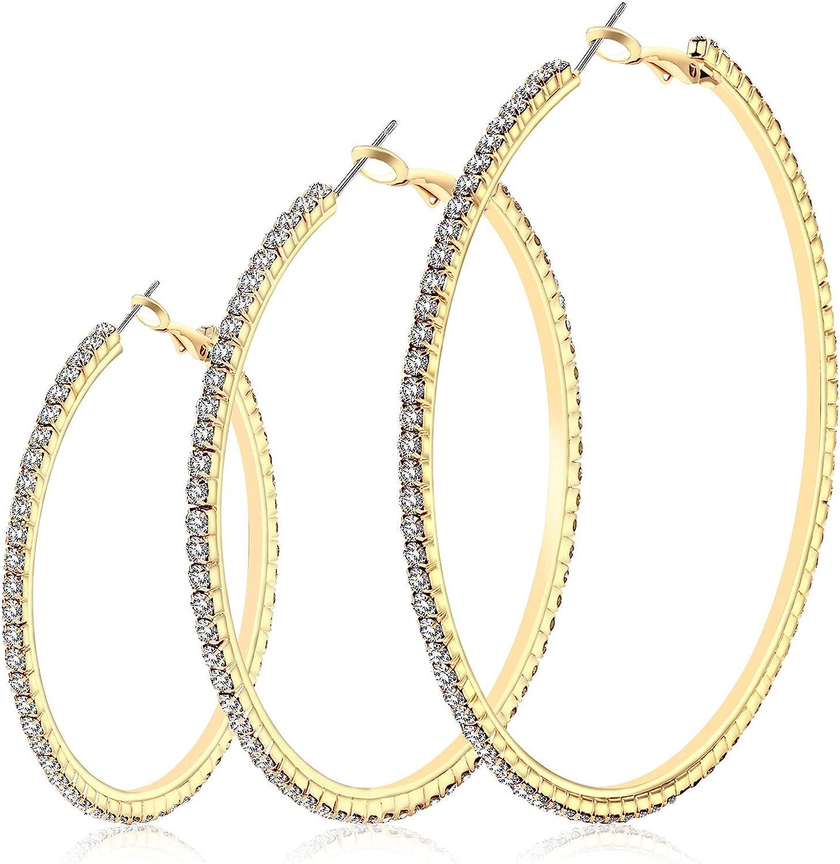 NLCAC 14K Gold Plated Big Hoop Earrings-3 Pairs Gold Hoops Crystal Rhinestone Hoop Earrings Set 50mm 60mm 70mm