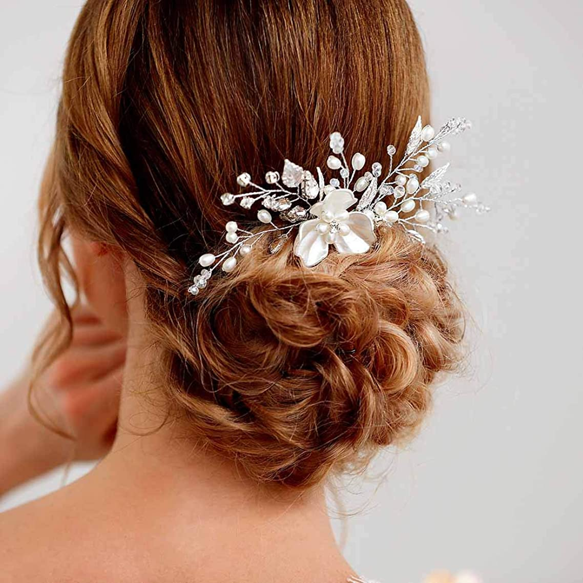UPSTONE Flower Wedding Hair Combs Crystal Bridal Headpiece Bead Hair Accessories for Women and Girls(Silver)
