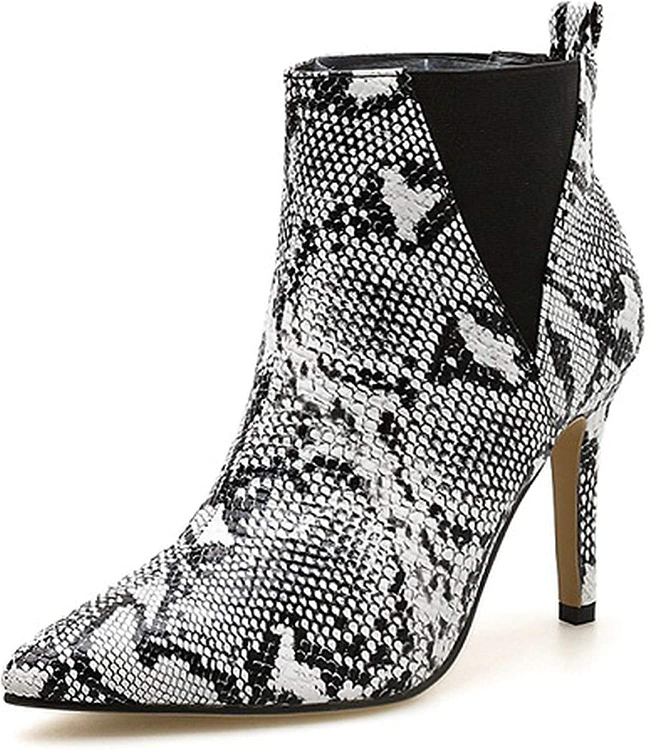 IOJHOIJOIJOIJMO 2019 Women Slip-On Boots Snake Print Ankle Boots ForWomen Thin Heels Fashion Pointed Toe