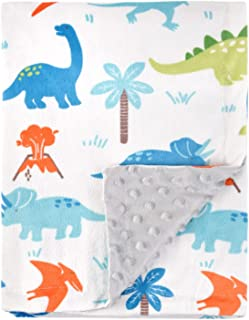 HOMRITAR Baby Blanket for Kids Super Soft Minky Blanket with Dotted Backing, Toddler Blanket with Dinosaurs Multicolor Pri...