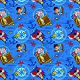 "Springs Creative Products Group Disney Jake ""Treasure Ahoy Toss"" Cotton Fabric, 43/44-Inch, Blue"