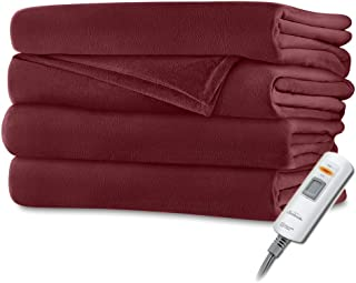 Sunbeam Luxurious Velvet Plush Premiun Soft Heated Throw Blanket with 3 Heat Settings Digital Control and Auto-off - Cranberry Red