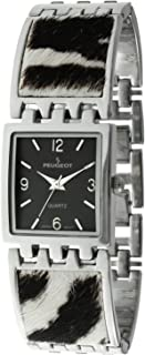 Peugeot Women's Petite Square Watch with Animal Print Adjustable Link Bracelet