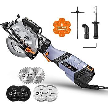 TACKLIFE Sega Circolare, 750 W & 6 Velocità, 125 mm e 115 mm per 6 Lame, Impugnatura in Metallo, Guida Laser - TCS115E
