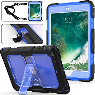 SEYMAC Stock for iPad Mini Case for Kids, 3 Layers Shockproof Full-Body Protective Hard PC & Soft Silicone Case with [Portable Strap]&[Built-in Kickstand] for Apple iPad Mini 1/2/3 (Blue/Black)
