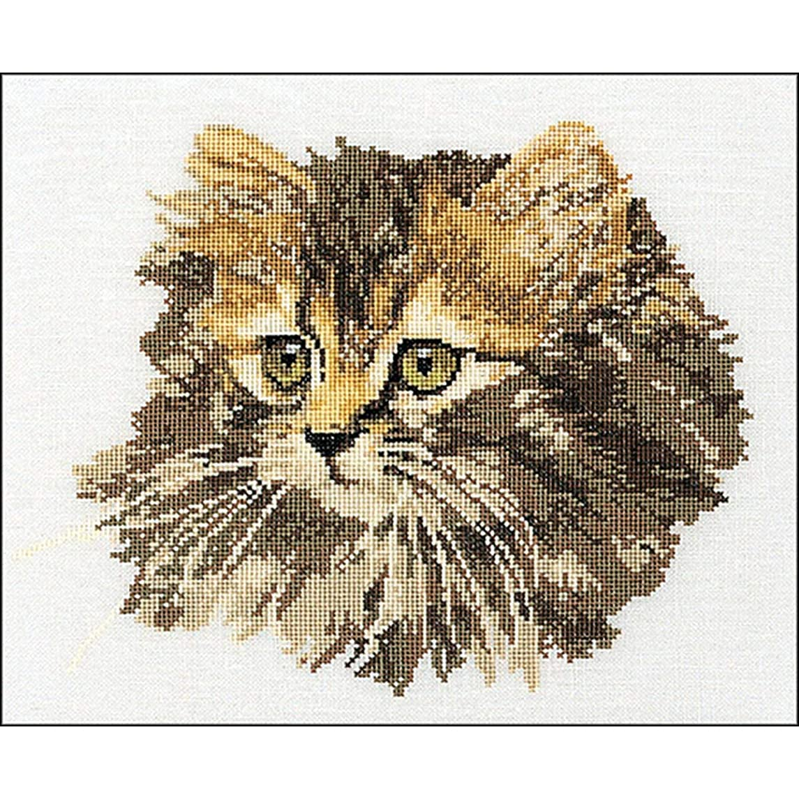 Thea Gouverneur 930A Long Haired Brown Cat on 18 Count Aida, Counted Cross Stitch Kit, 11.8-Inch-by-15.7-Inch