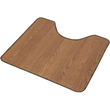 木目調サッと拭けるトイレマット55x60チーク 6210