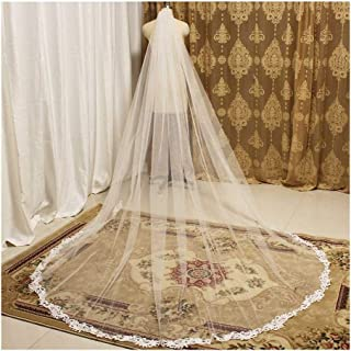 RLYBDL Lace Appliques Elegant Ivory Wedding Veil 3 Meters Cathedral Bridal Veil with Comb One Layer Long Veil for Bride Accessories (Color : Ivory, Item Length : 400cm)