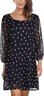 DJT Women's Floral Pattern 3/4 Sleeve Loose Fit Chiffon Tunic Dress