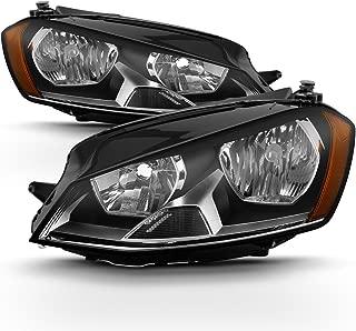 ACANII - For [Driver + Passenger Side] 2015 2016 2017 Volkswagen GTI Golf Halogen Headlights Headlamps MK7