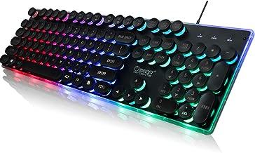 ZERODATE KB202 USB Retro Round Backlight Typewriter Keyboards104 Keys Vintage Inspired Steampunk Gaming Keyboard