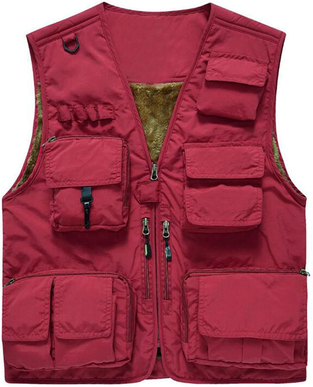 Man Outdoor Waterproof Tactic MultiPocket Vest Jacket,RedXXXXL