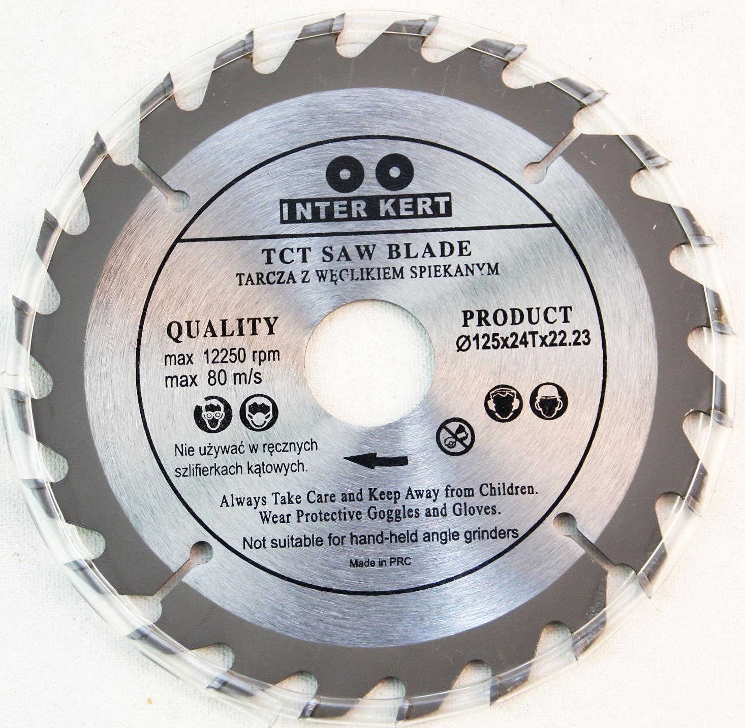 Hoja de sierra circular para madera (125 x 22,23mm x 24 dientes)