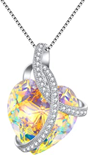 Swarovski Crystals Heart Pendant Necklace-925 Sterling Silver-Cubic Zirconia Necklace-Gifts for Women, Box Chain 19''