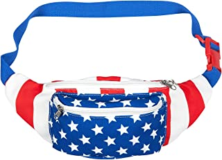 Juvale American Flag Fanny Pack (15 x 4.5 x 3 in)