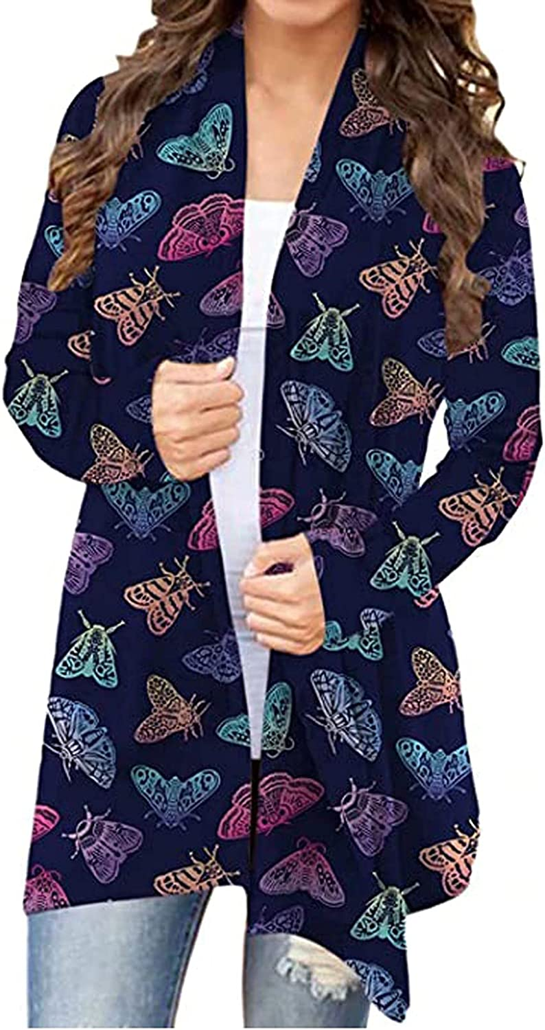 Cardigan Sweaters Fashion Women's Butterfly Printing Long Sleeve Cardigan Autumn Coat Blouse Tops