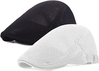 2 Pack Men Breathable Mesh Summer Hat Newsboy Beret Ivy Cabbie Flat Cap