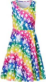 RAISEVERN Girls Sleeveless Dress Mermaid Fish Scale Dress for Kids 4-13 Years