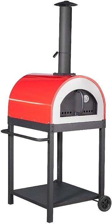 Forno a legna per pizza in acciaio da esterno barbecue giardino con refrattario megashopitalia B079TXBMXX