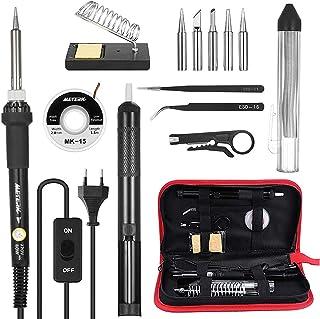 comprar comparacion Kit de Soldador , Meterk 60W 220-240V 14 en 1 Soldador de Estaño de Temperatura Ajustable,Soldador con ON/OFF