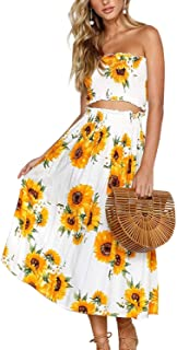 LUKYCILD Women Summer 2 Piece Outfit Floral Bandeau Crop Top with Maxi Skirt Set