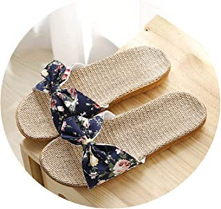 Tiwcer New Women Summer Beach Slippers Breathable Linen Flip Flops Female Casual Flax Slippers Sandals Floral Bow Indoor Shoes