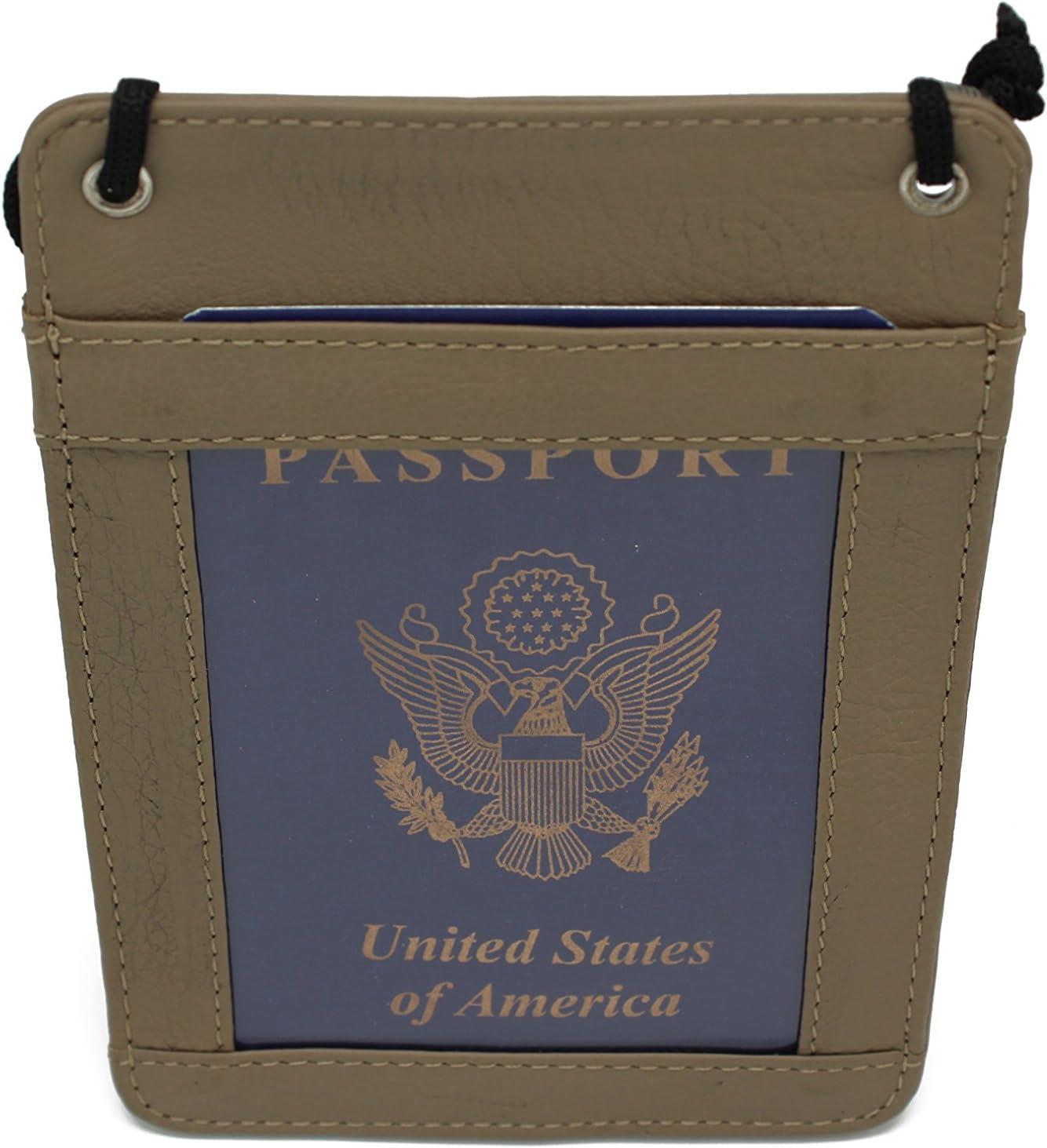 Black 53110L3 Genuine Leather Neck Hanging Passport Wallet Evening Purse Cross body Bag
