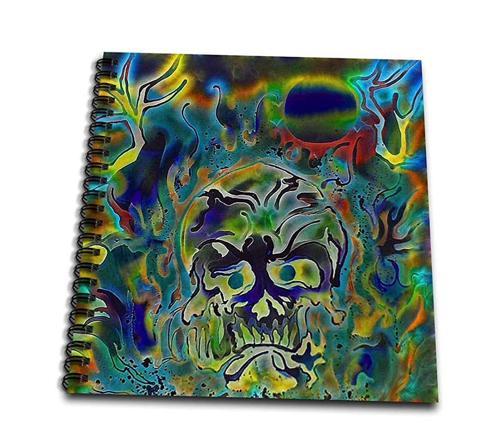 3dRose Trippy Colors Fire Skull Goth Fantasy Abstract Digital Art-Drawing Book, 8 by 8-inch (db_116258_1)