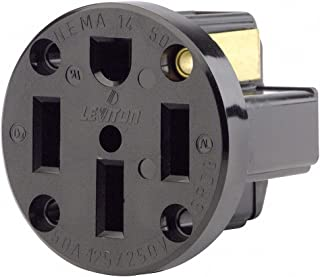 Leviton 279-PM 50A, 125/250V, NEMA 14-50R, 3P, 4W, Panel Mounting Receptacle, Straight Blade, Industrial Grade, Grounding, Side Wired, Strap, Black