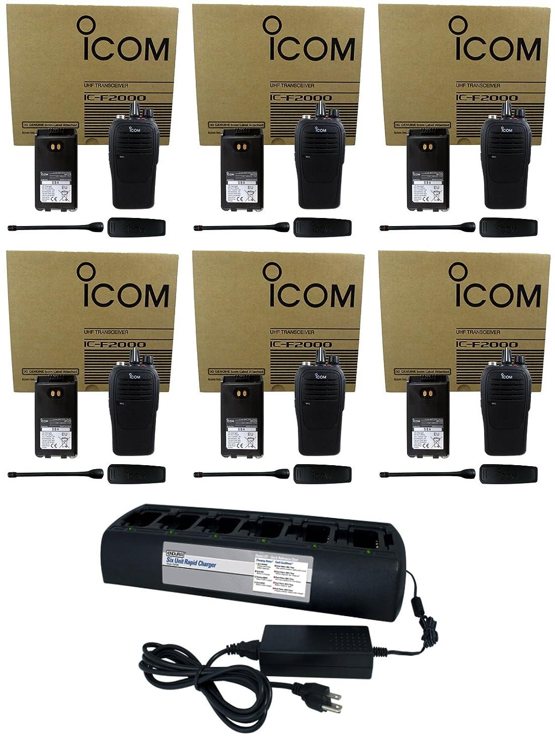 QTY 6 Icom F2000 01 UHF 4 Watt 16 Channel 400-470 MHz Two Way Radio with QTY 1 Power Products TWC6M 6 Unit Gang Charger