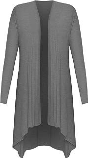 WearAll Womens Plus Size Hank Hem Long Sleeve Open Waterfall Cardigan 14-28