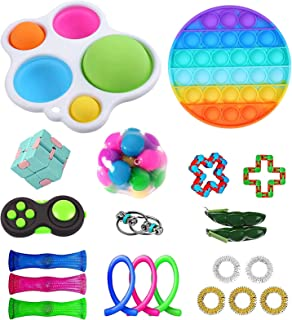 Cheap Sensory Fidget Toy Packs, Fidget Toys Pack with Simple Dimple, Fidget Toy Sets, Stress Relief and Anti-Anxiety Tools, Fidget Box with Simple Dimple and Pop-Its Toy Kill Time