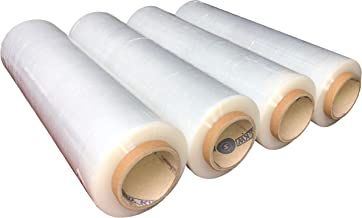"""Pack of America Stretch Film, Hand/Shrink Wrap, Heavy Duty, Moving Supply, Packing Boxes, Ideal for Furniture and Pallet Wrapping 4 Pack Clear (1500ft,80 Gauge,3""""core)"""