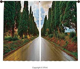 Home & Kitchen Decor Window Treatment Panel Curtains, Tuscan Decor,Large Boulevard with Trees in Old European Village Country Life Destination Artistic Photo,Multi, 55 W X 39 L Inches