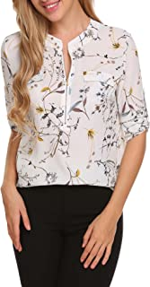 Women Chiffon Blouse V Neck Office Work Blouse for Women Dress Shirts Tops for Summer