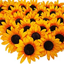 SUPLA 28 Pcs Sunflower Heads Bulk Artificial Flowers Fall Orange Sunflower Heads Faux Floral Gerber Daisies for Autumn Thanksgiving Wedding Table Centerpieces Wreath Hydrangea Decorations 5.1