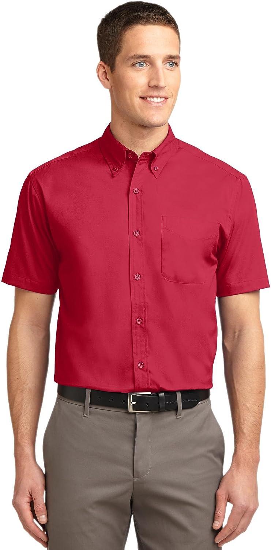 Port Authority Men's Big Short-Sleeve Easy Care Dress Shirt - Red/Light Stone S508 XXL