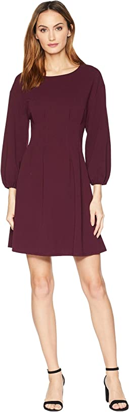 Elastic Sleeve Tuck Waist Flare Dress