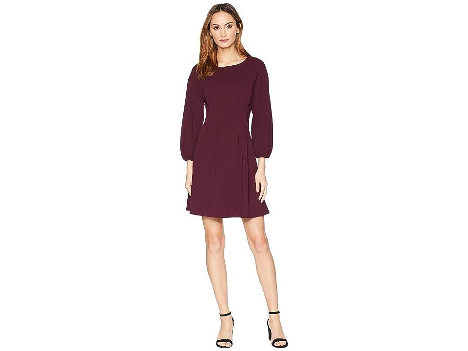 London Times Elastic Sleeve Tuck Waist Flare Dress (Port Wine) Women