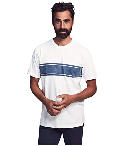 Faherty Short Sleeve Surf Stripe Pocket Tee (White Surf Stripe) Men