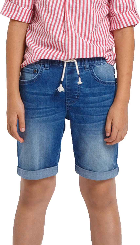 M.D.K Boys Comfy Drawstring Pull On Roll Up Cuff Denim Knee Length Jean Shorts