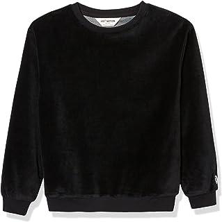 Kid Nation Kids Unisex Cozy Velour Crew Neck Sweatshirt for Boys and Girls 4-12 Years
