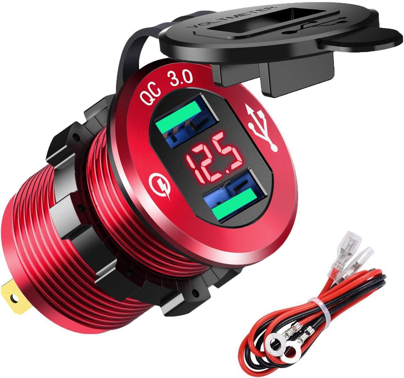 YGL 12V/24V Carga Rápida 3.0 Cargador Dual de us Enchufe, Impermeable Cargador de Aluminio con LED Voltímetro (Rojo)