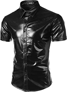 JOGAL Men's Dress Shirts Nightclub Metallic Silver Short Sleeve Button Down Shirts