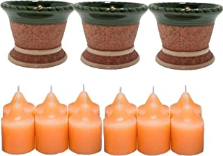 ShoppeShare Garden Inspired Clay Pot Votive Holder Trio and Candle Bundle - Home Décor - Retired PartyLite
