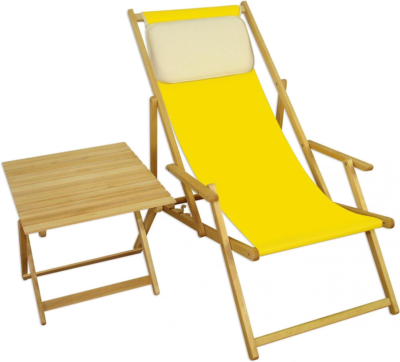Strandstuhl gelb Gartenliege Strandliege Deckchair Tisch Kissen Liegestuhl Holz hell 10-302NTKH