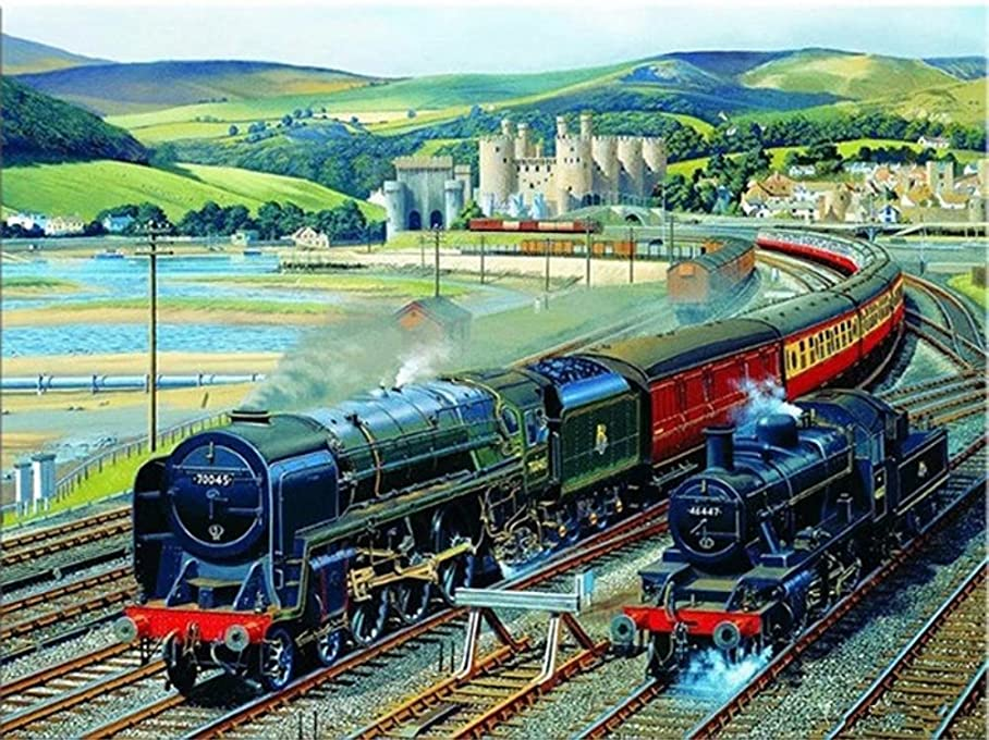 Diamond Painting by Number Kit, Karida 5D DIY Diamond Painting Full Square Drill Steam Train Embroidery for Wall Decoration 12X16 inches (Full Drill) p099679746
