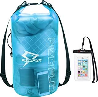 Piscifun Waterproof Dry Bag with Phone Case for Women and Men, Transparent Dry Bag 2L/5L/10L/20L/30L/40L, Lightweight Dry ...