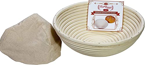 lowest 8 wholesale Inch Premium Round Bread Banneton Basket with Liner - Perfect Brotform Proofing Basket for Making 2021 Beautiful Bread online sale